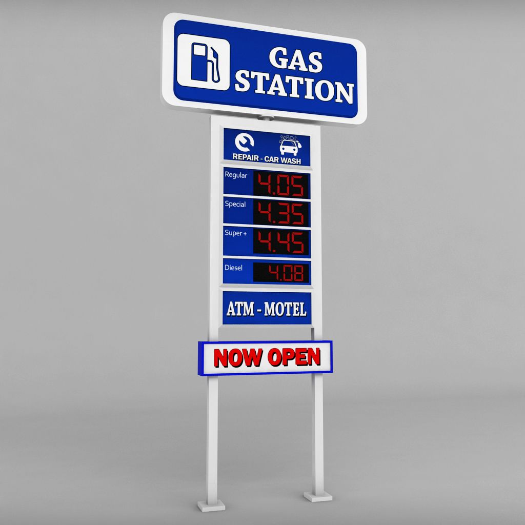 Gas Station Prices >> Gas Station Price Sign Totem Low Poly Pack Price Station