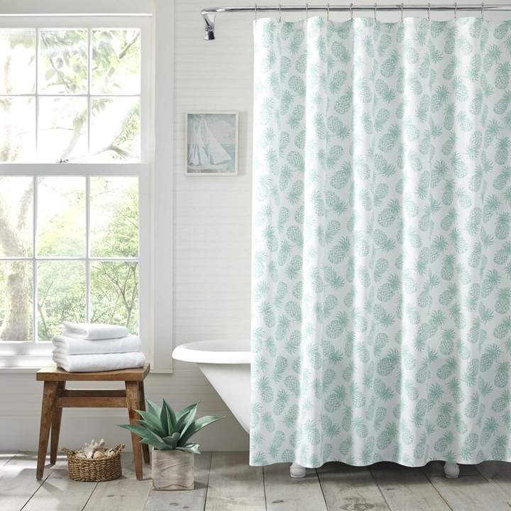 Tommy Bahama Home Tossed Pineapple Cotton Single Shower Curtain