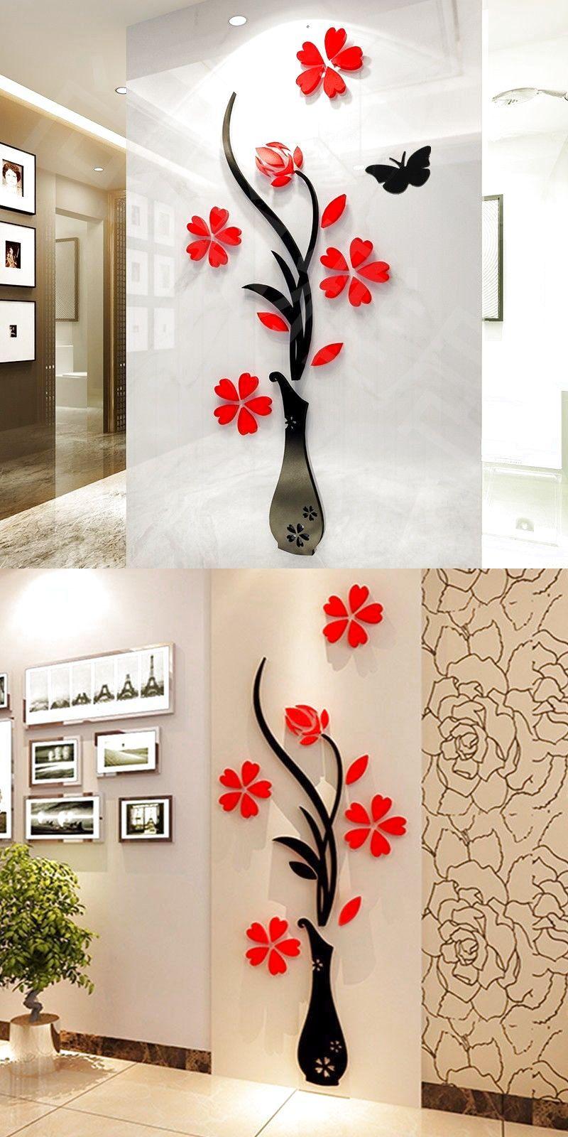 D flower diy beautiful mirror wall decals stickers art home room