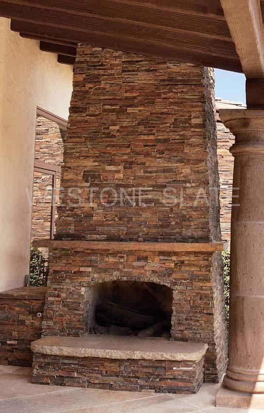ledgestone fireplace hearth in patio, multicolor ledgestone veneer ...