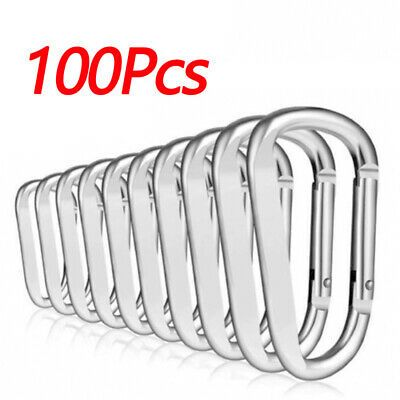 50//100 pcs Buckles Key Chain Silver//Black Aluminum Small Portable High quality