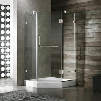 "VG6062CHCL40W 40"" x 40"" Clear Glass Frameless Neo Angle Reversible Shower Enclosure with White Base and Chrome Fittings"