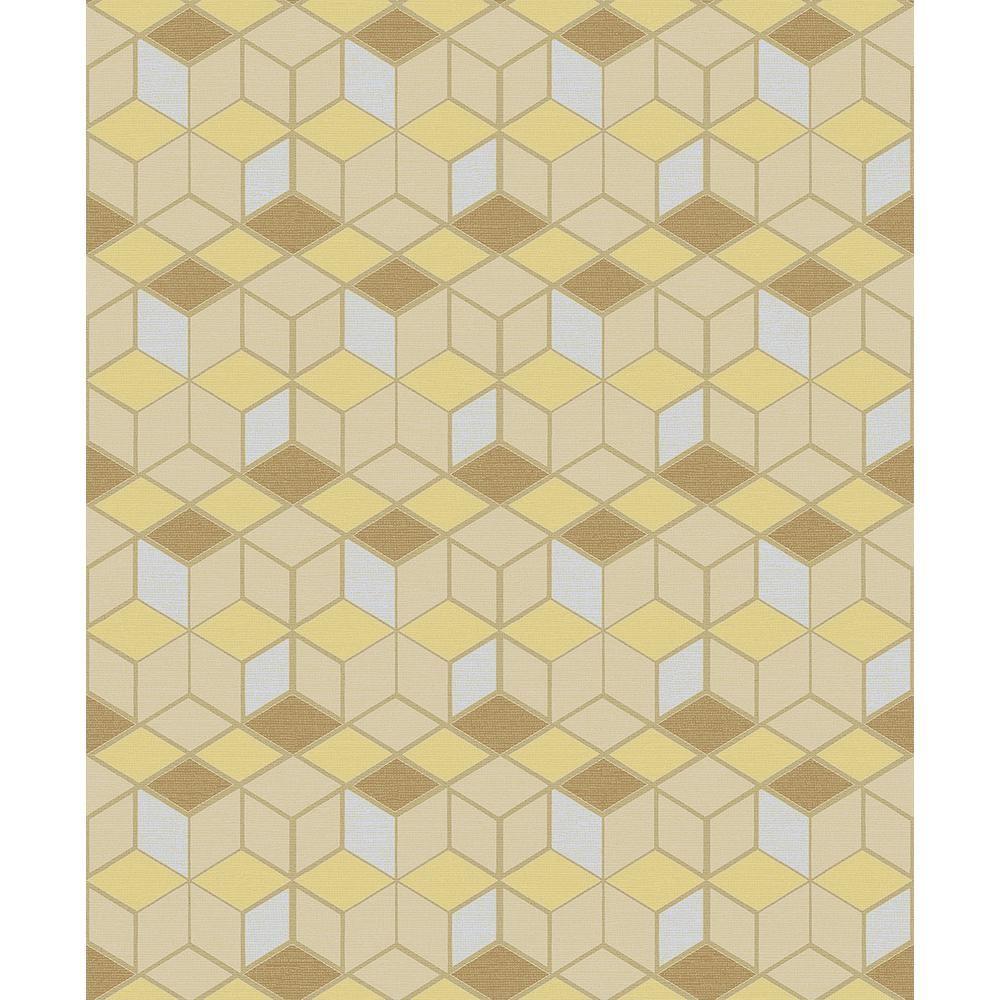 Advantage 8 In X 10 In Joanne Mustard Blox Wallpaper Sample 2809 Ih18101sam Wallpaper Samples Mustard Stripe Wallpaper Cream Wallpaper