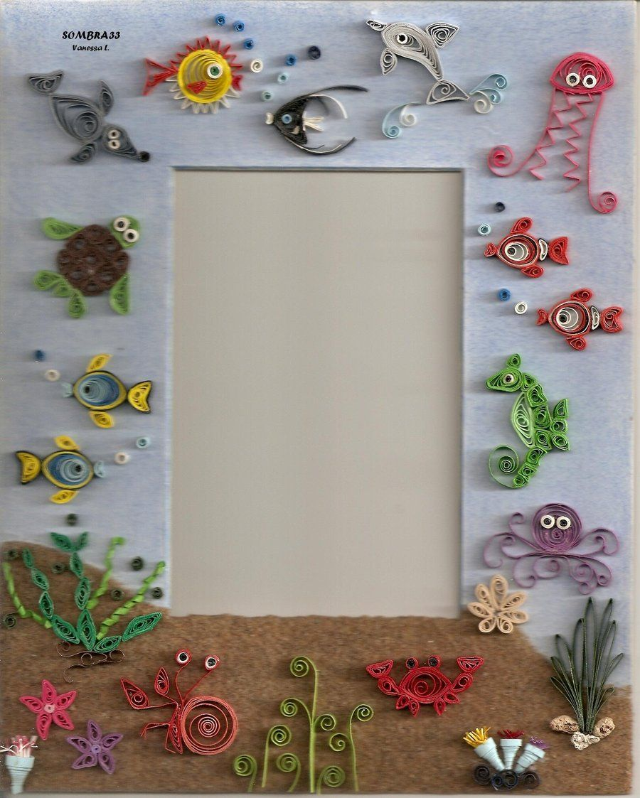 Quilling picture frame the sea by sombra viantart on deviantart also rh in pinterest