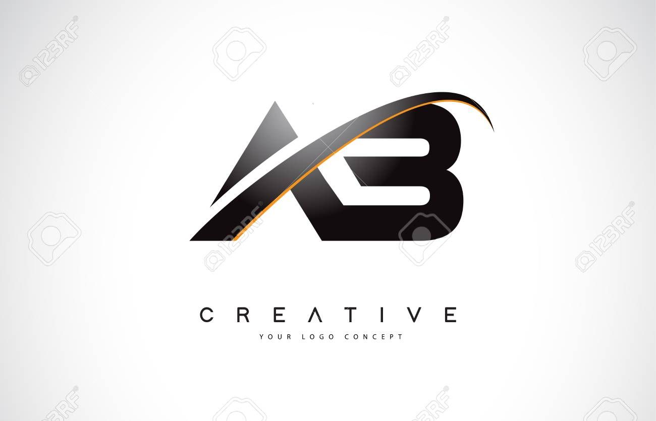 Ab A B Swoosh Letter Logo Design With Modern Yellow Swoosh Curved Lines Vector Illustration Ad Typography Logo Inspiration Letter Logo Design Letter Logo