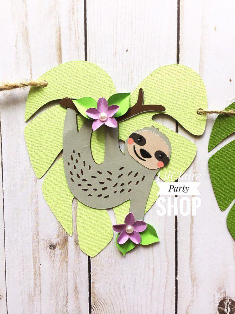Birthday Banner Sloth Name Banner Sloth Baby Shower Banner