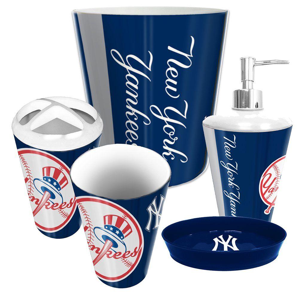 Amazon Com New York Yankees 5 Piece Bathroom Set Sports Outdoors New York Yankees Yankees Complete Bathrooms Ny yankees bathroom decor
