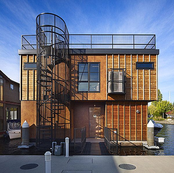 Wood, Glass And Metal With Outdoor Spiral Staircase (rear View) Part 29