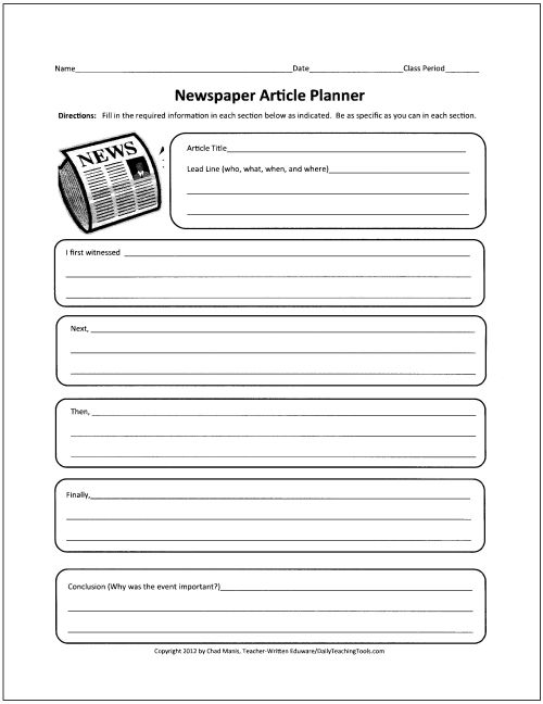 30 Free Graphic Organizers To Teach Writing Newspaper Article Template Ideas