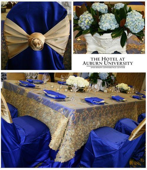 Just gold table cloth and cobalt blue napkins idea for wedding just gold table cloth and cobalt blue napkins idea junglespirit Choice Image