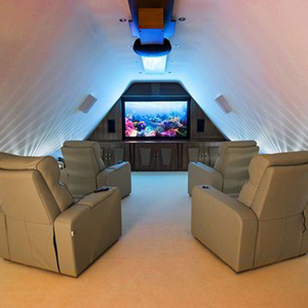Simple Attic Home Theater With Luxury Seating Design : Luxurious ...