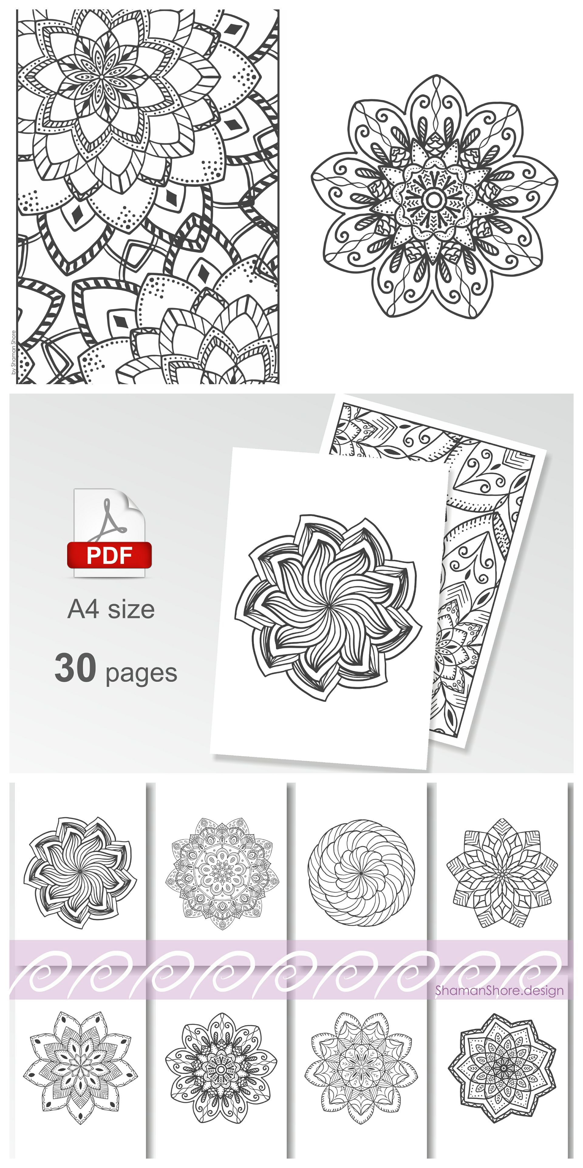 Mandala Coloring Pages For Adults Printable Digital Adult Book Download