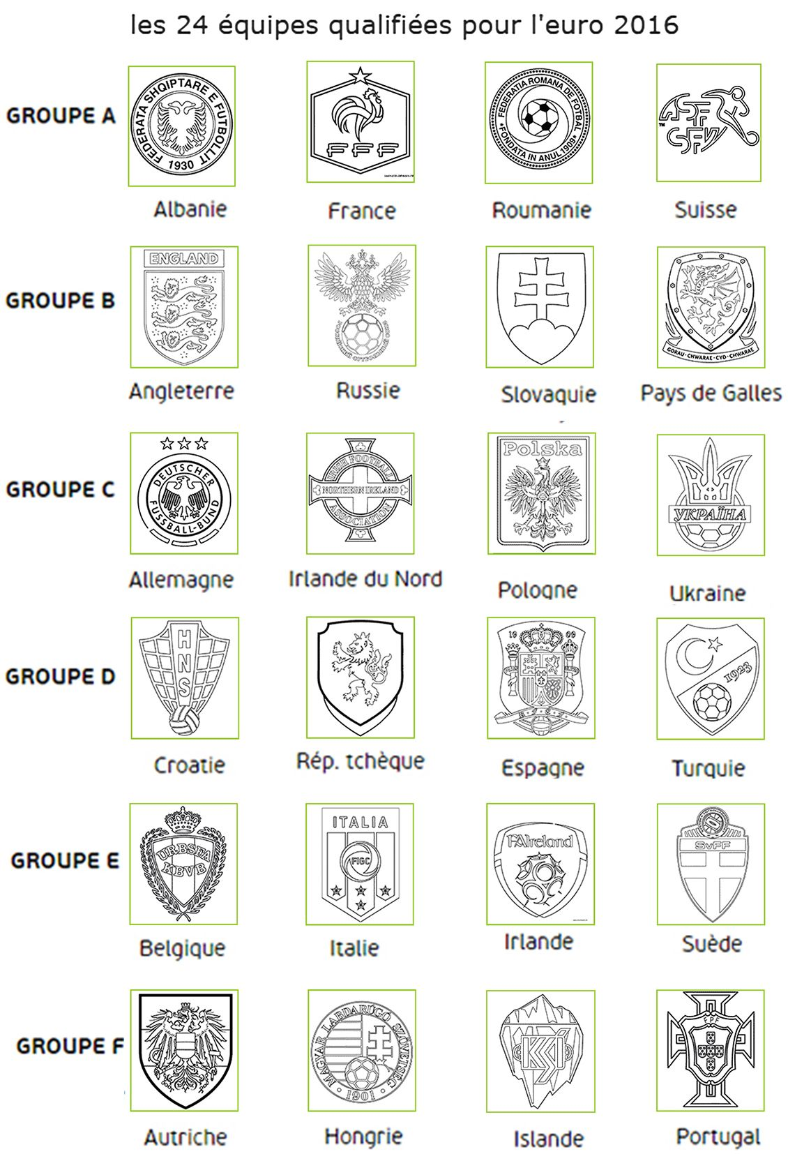 24 quipes qualifi es pour l 39 euro 2016 euro france 2016 coupe du monde - Coloriage equipe de foot ...