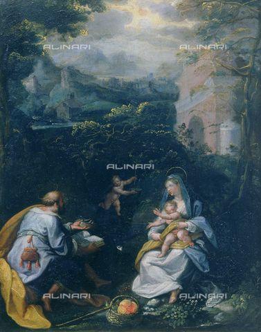 Jacopo Zucchi (1541-1590) - Riposo durante la fuga in Egitto - Galleria degli Uffizi di Firenze