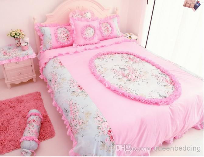 Rose Flower Princess Alice Piece Set Lace Yarn Bed Skirt Bedding Purple Green Blue Pink Duvet Covers Queen King Size Quilt Online with $175.92/Piece on Queenbedding's Store   DHgate.com