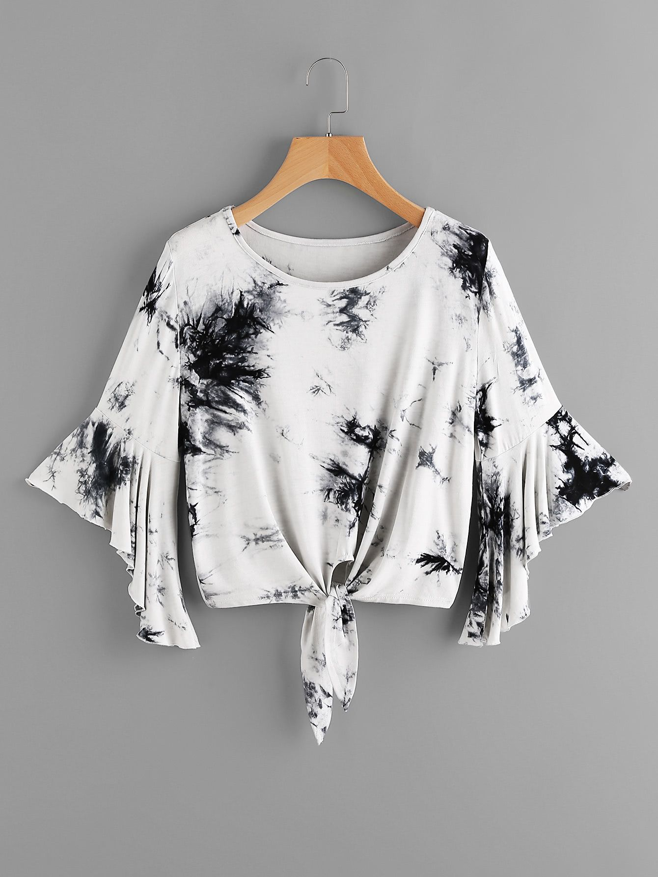 93d6809b531da Shop Tie Dye Trumpet Sleeve Knotted Hem Crop Tee online. SheIn offers Tie  Dye Trumpet Sleeve Knotted Hem Crop Tee   more to fit your fashionable  needs.