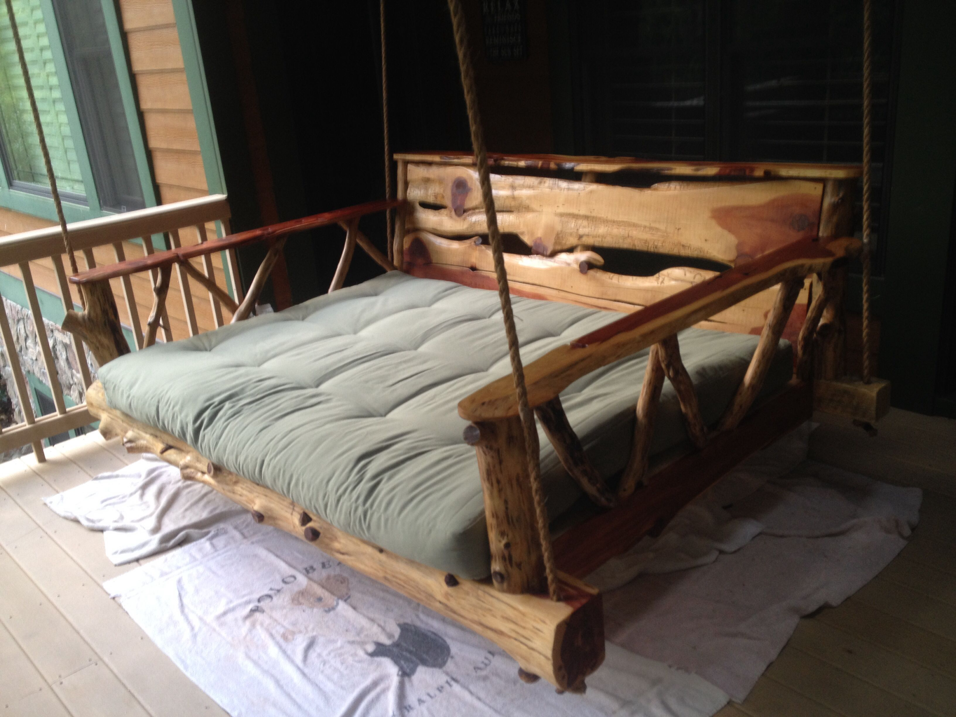 My New Rustic Daybed Swing Handmade From God S Rustic Workshop In Nc Rustic Daybeds Daybed Swing Outdoor Bed
