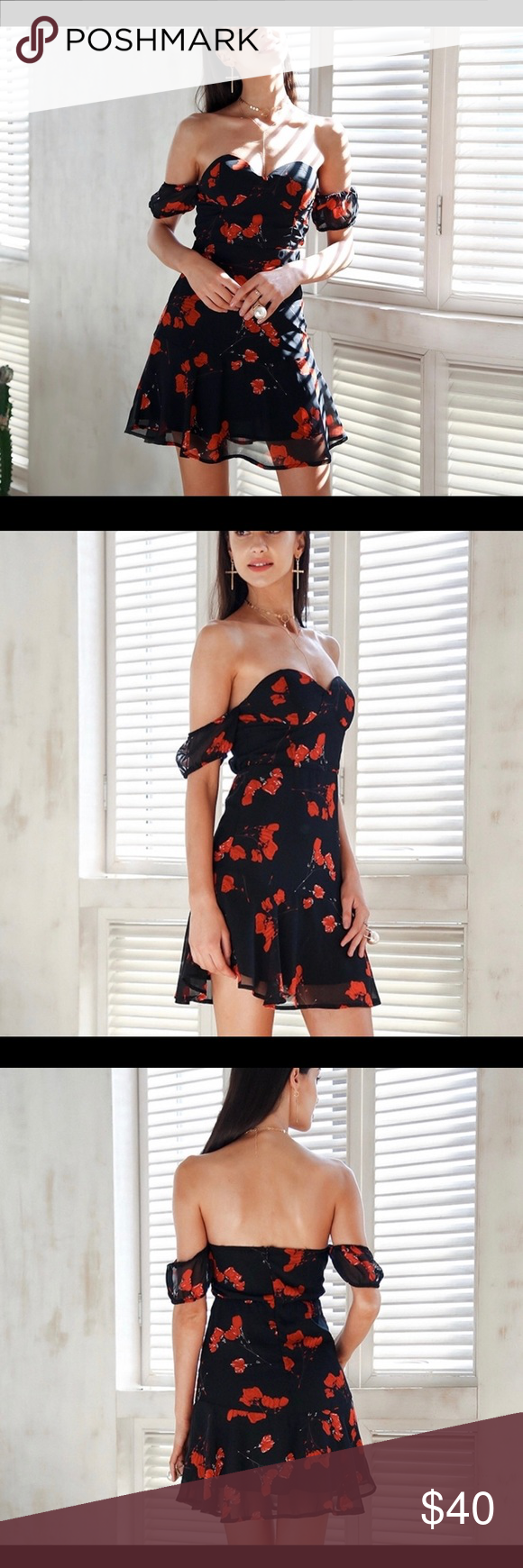 Red And Black Dress Black Dress With Red Flowers Comes With Clear Straps If You Wanted To Wear Straps Dresses Midi Dresses Clothes Design Black Dress [ 1740 x 580 Pixel ]