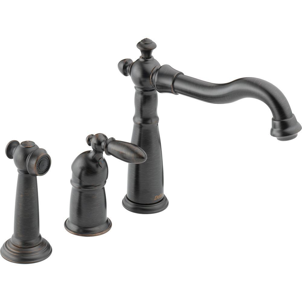 Delta Victorian Single Handle Standard Kitchen Faucet With Side
