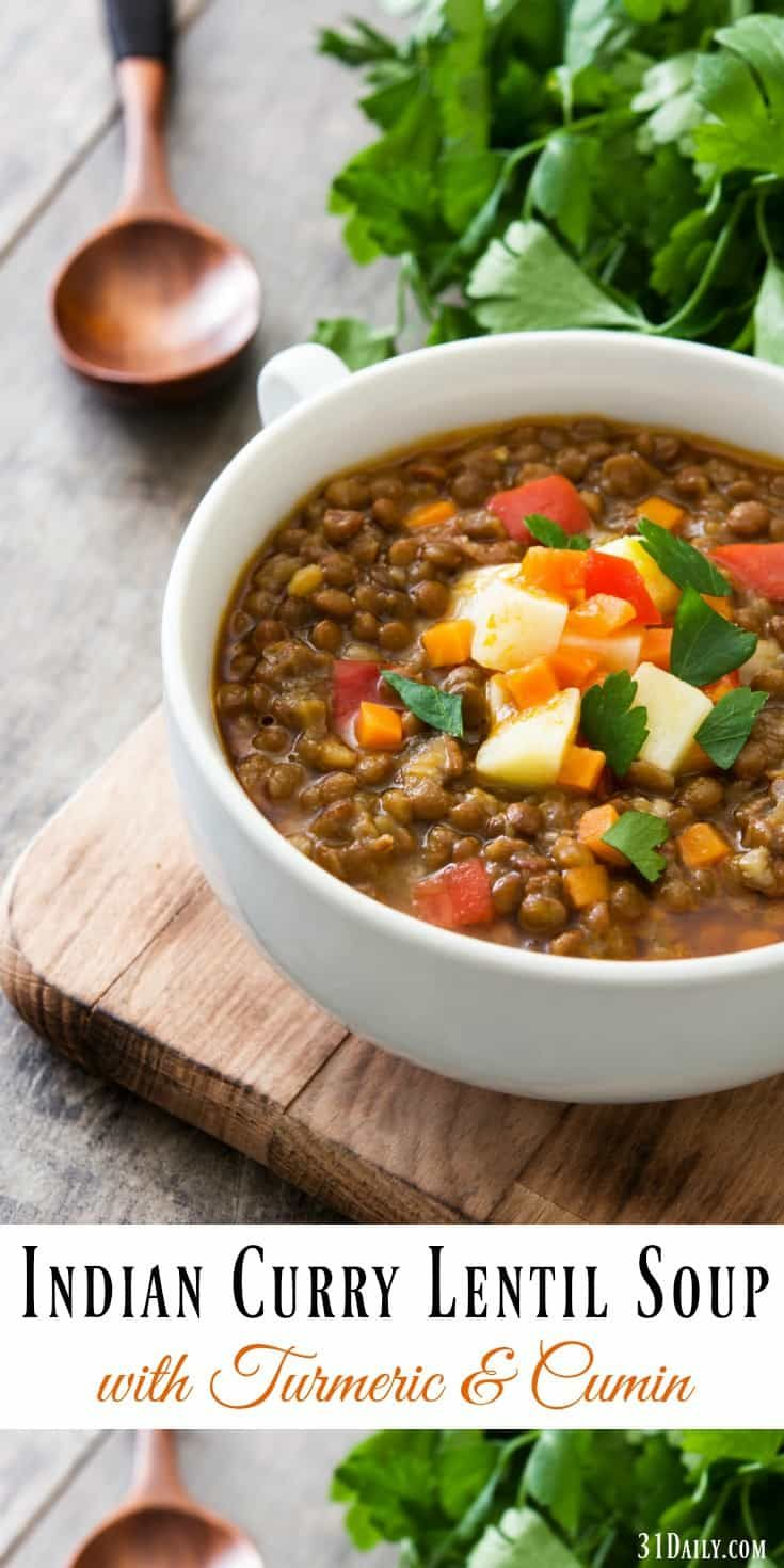 Easy Indian Curry Lentil Soup Recipe with Turmeric
