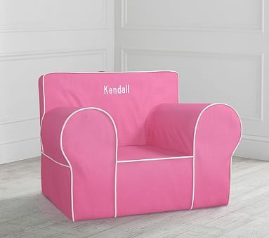 Oversized Bright Pink With White Piping Anywhere Chair