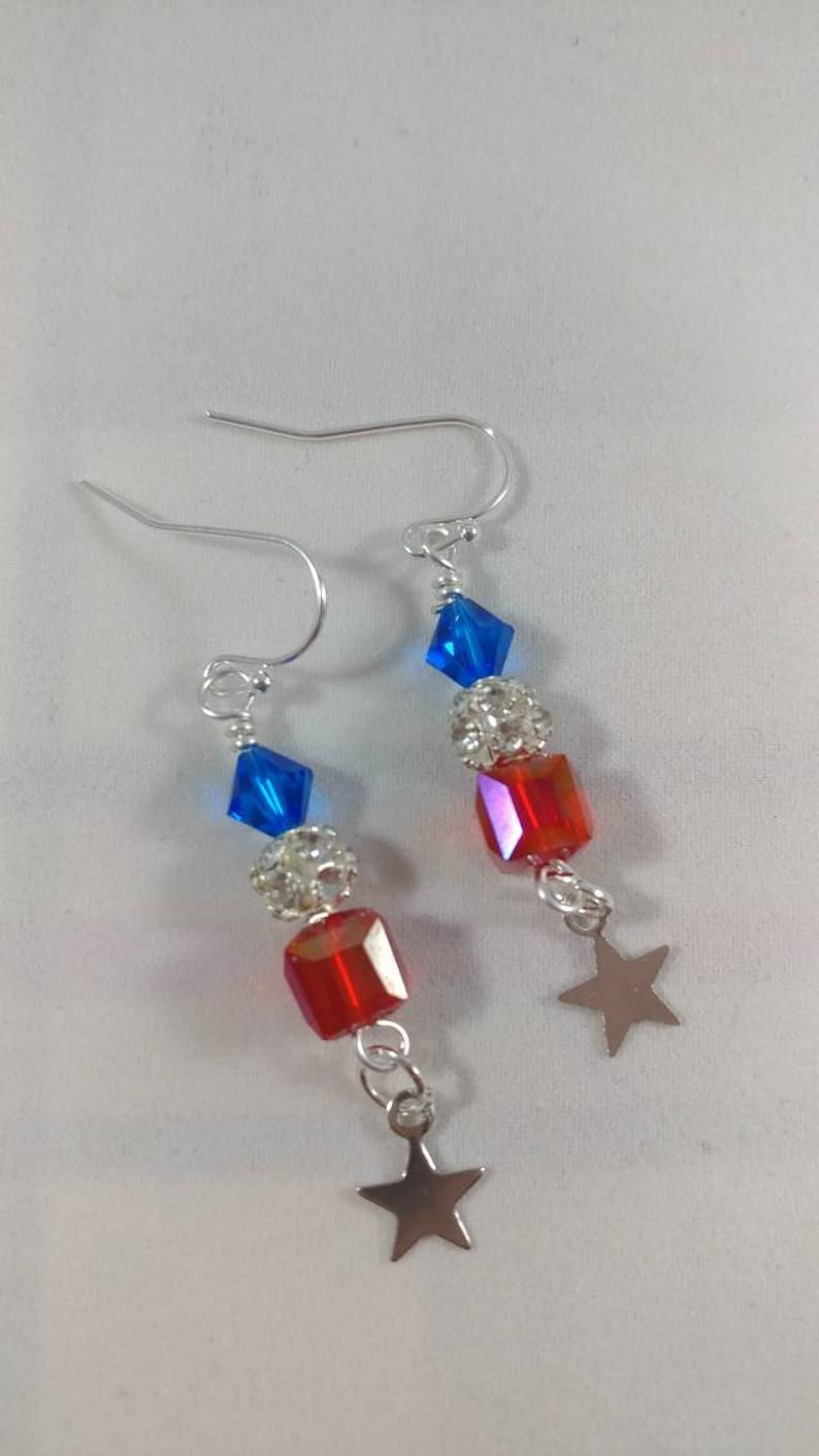 Memorial Day Earrings, Independence Day Earrings, Red, White, and Blue Earrings, Patriotic Earrings, Fourth of July Earrings, 4th of July
