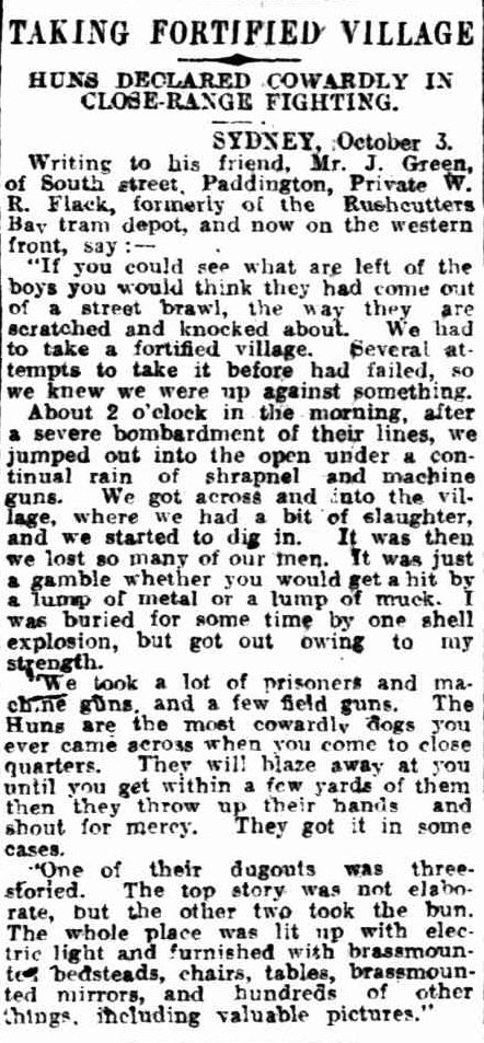 WWI, 16 Oct 1916; A letter from the Western Front. - Daily Herald, Adelaide
