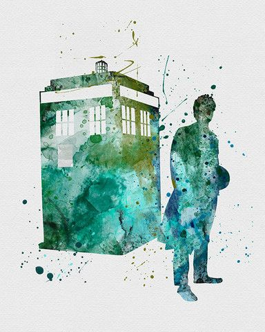 Dr. Who Tardis Watercolor Art - VividEditions
