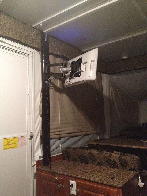 Television Mount Without Damaging Popup Popup Camper Remodel Camper Renovation