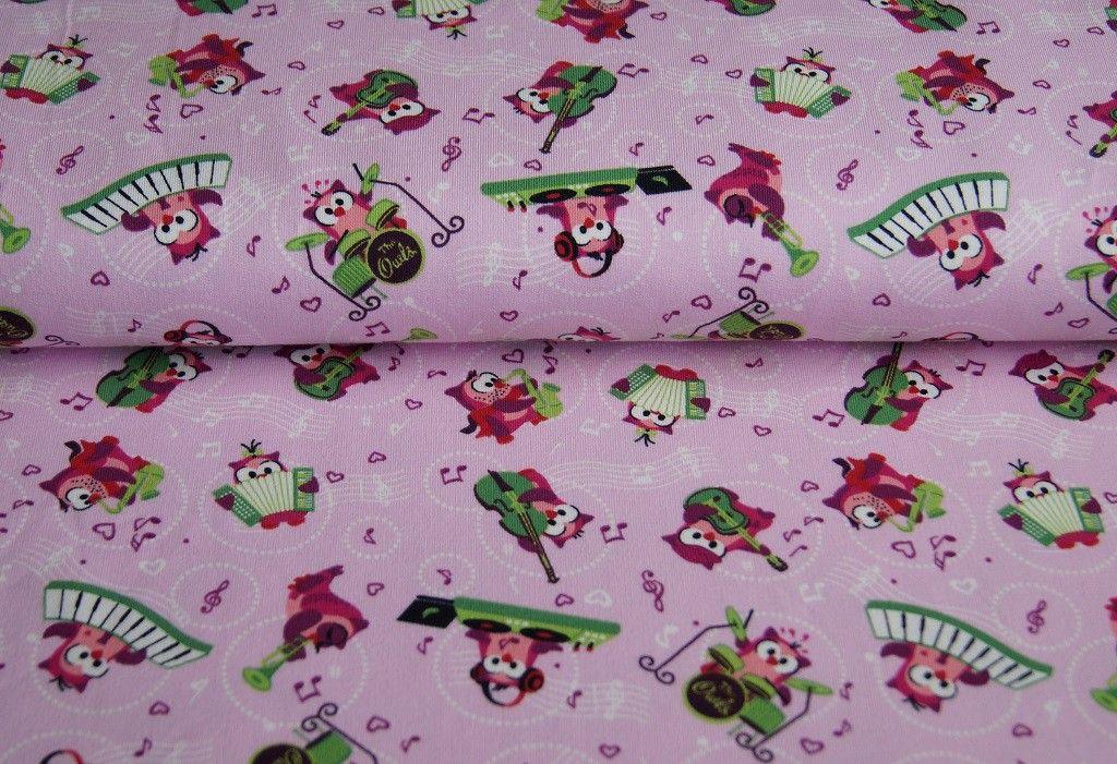 Rock'n Owls Girls ★ Sweat ★ Eulen  Auf rosanen Hintergrund  Hohe Qualität leicht zu verarbeiten angenehm und innen angeraut 95% Baumwolle 5% Elasthan 160cm Breit