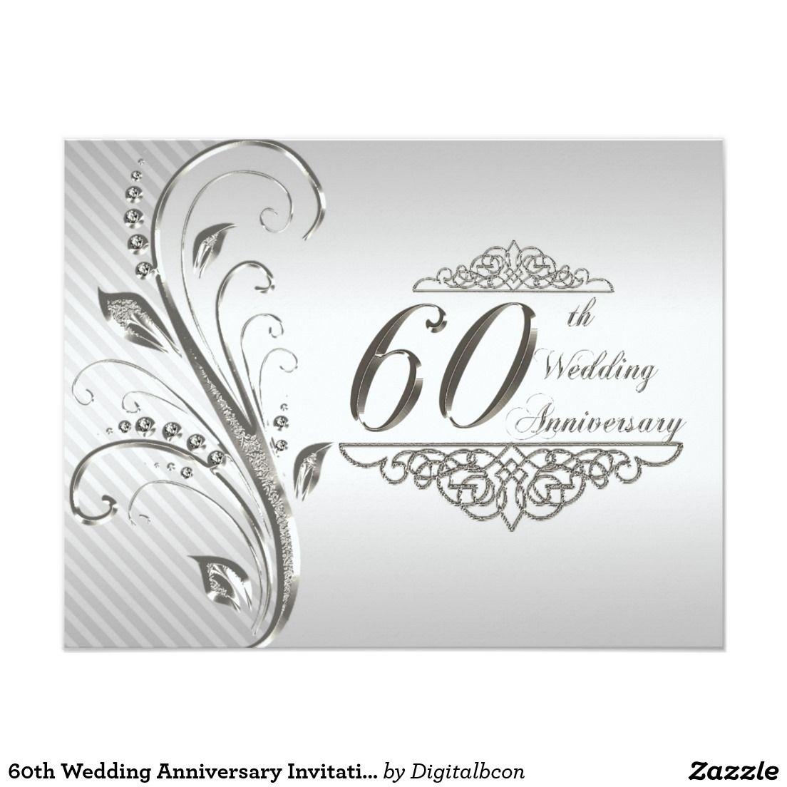 60th Wedding Anniversary Invitation Card   Pinterest   60 wedding ...