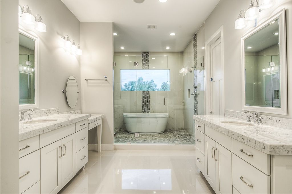 Contemporary Master Bathroom with limestone tile floors, Feiss 18 ...
