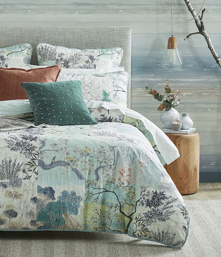 Embrace The Harmonious Colour Palette And Oriental Inspired Design Of The Meke Quilt Cover For Contemporary Under Quilt Cover Dreamy Bedrooms Bed Linen Design