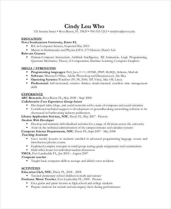 Computer Science Resume Example Computer Science Resume Template . Cs Resume.  Sample Computer Science ...  Computer Science Resumes