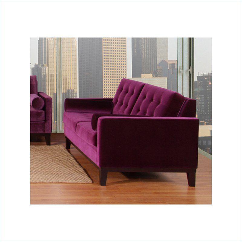Centennial 3 Piece Velvet Sofa Set in Purple - LC725XPU-3PC-PKG
