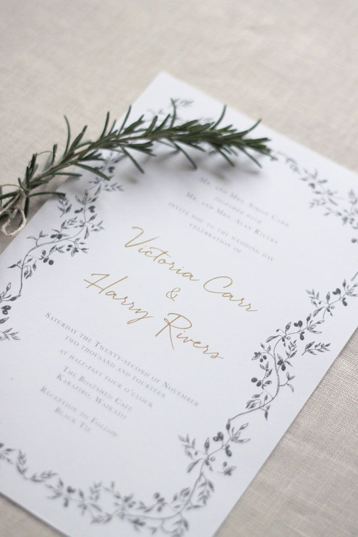 Wedding Invitation & Wedding Stationery- Grey & Gold Olive Wreath by ...