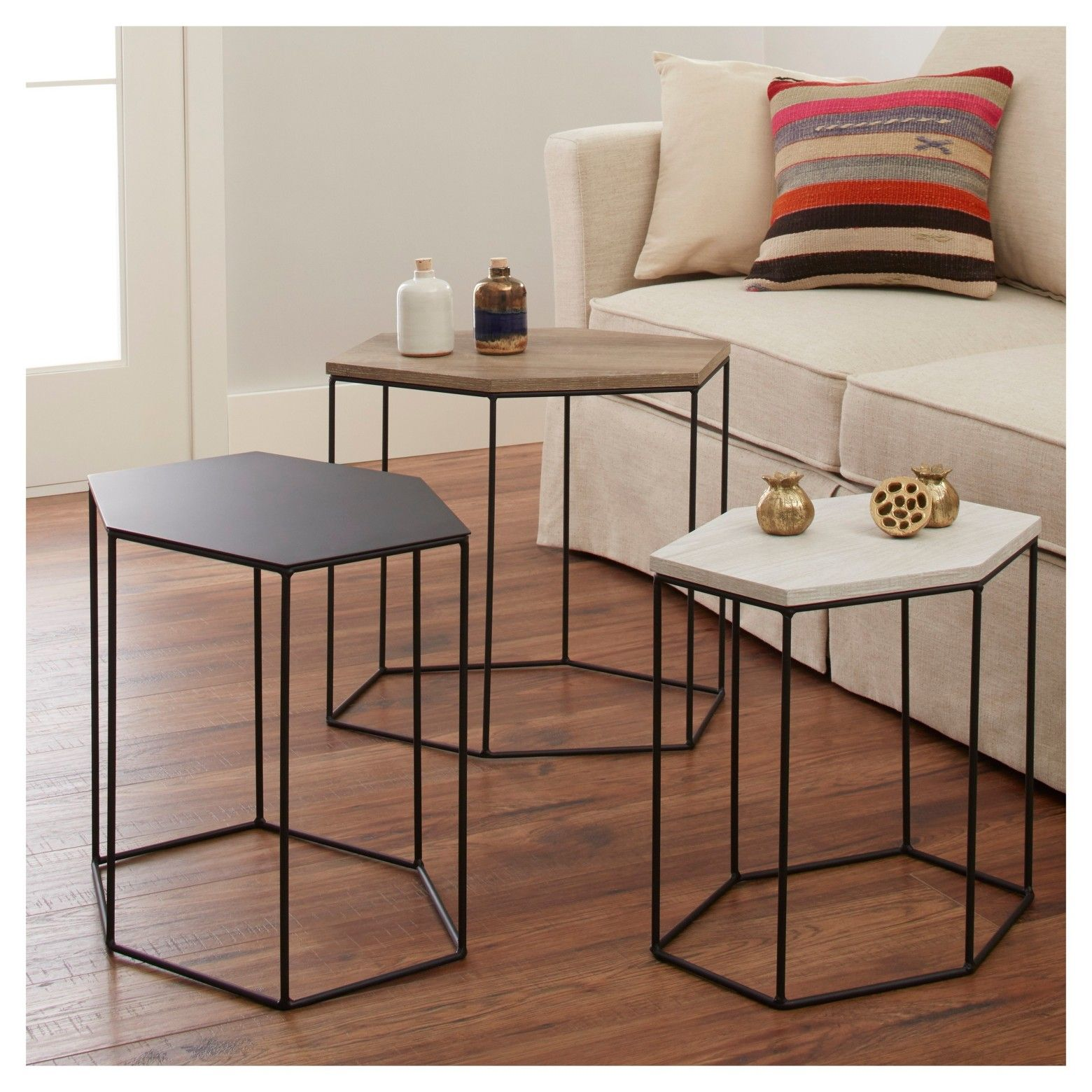 Meredith 3pk Hexagonal Accent Tables - Project 62™  sc 1 st  Pinterest & Revamp your home decor with the Whitney Hexagonal Accent Tables ...