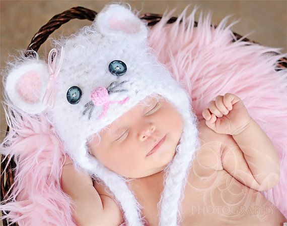 Warm Fuzzy Mouse Hat Newborn 3m 6m Crochet White Baby Photo Prop