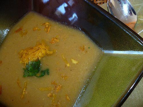 Sopa de Platanos Verdes con Arañitas (Green Plantain Soup with Plantain Strips) - Hispanic Kitchen