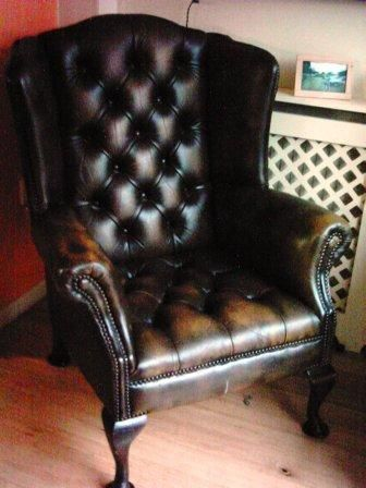 Old Wingback Leather Chair