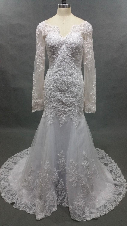 Click to buy ucuc vestido de noiva custom white v neck muslim wedding