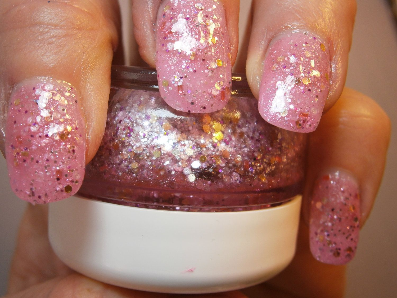 Nymphomaniac Nail Lacquer - Glistening Fushia Gold Glitter Custom Nail Polish by WonderBeautyProducts