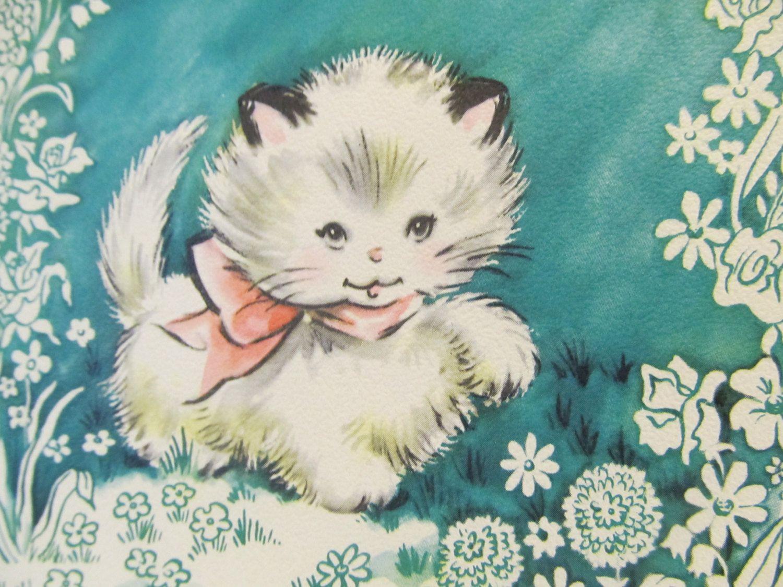 Hope You Feel Better Soon White Fluffy Cat Kitten Cards With