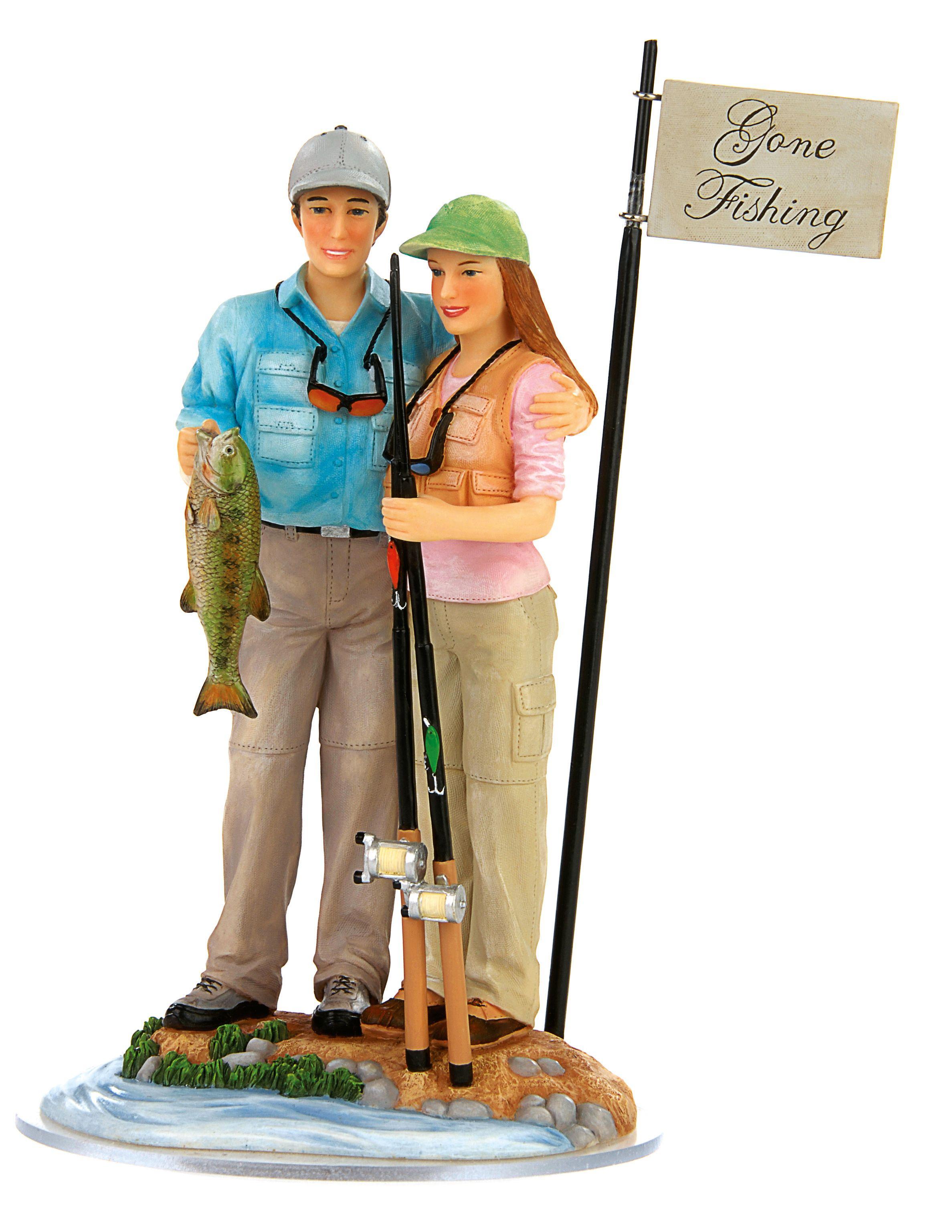 Fishing Couple Cake Topper Cakepins