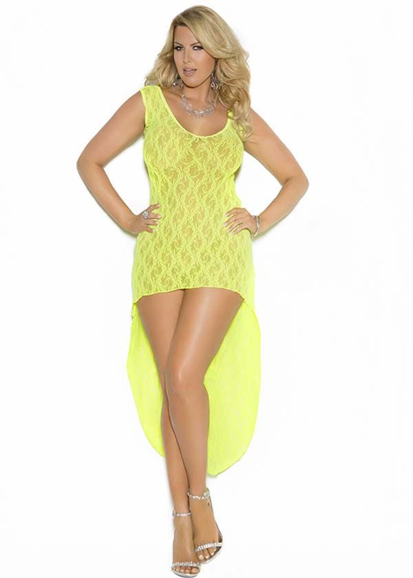 Graceful Lace Lime Green Plus Size Gown With Provocative High Low
