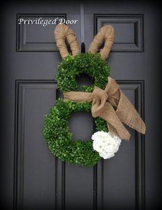 Photo of Easter wreath. Spring wreath. Easter bunny wreath. Faux boxwood bunny wreath.