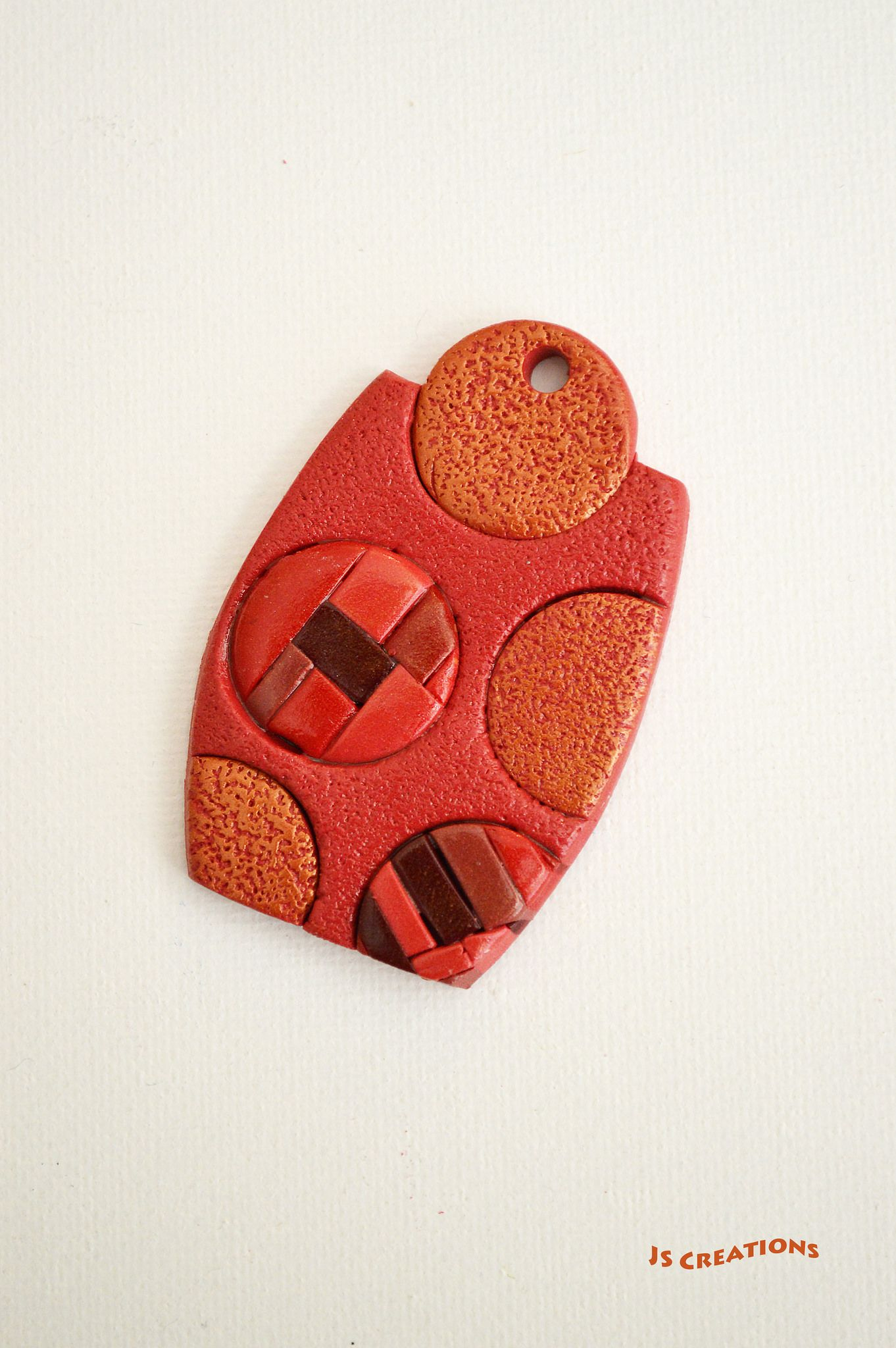 JS Creations polymer clay pendant