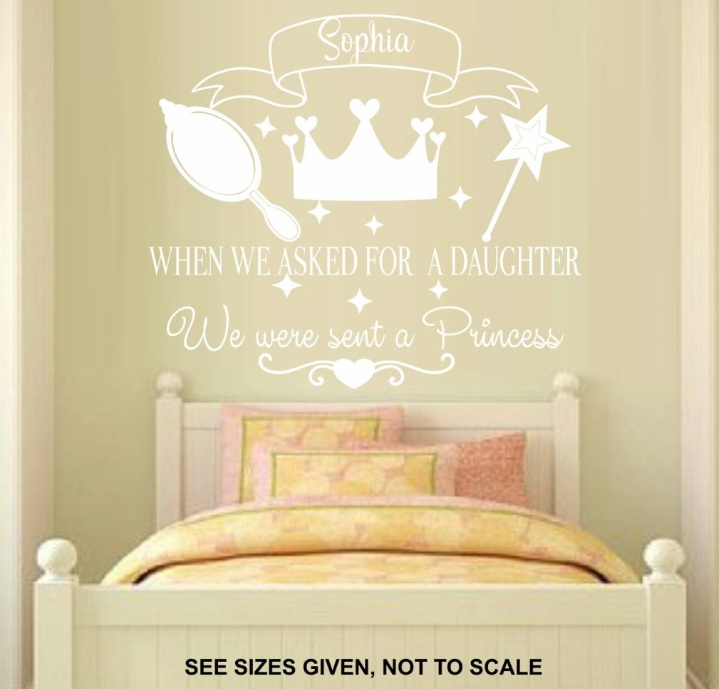 PERSONALISED BABIES GIRL 5 PRINCESS QUOTE WALL ART STICKER XLRG ...