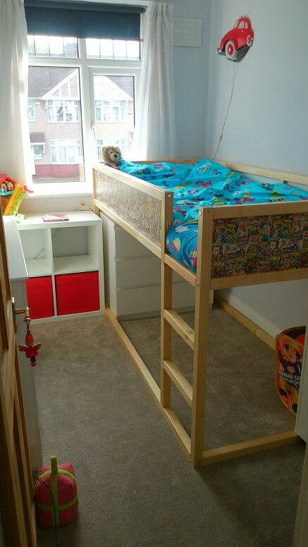 Ikea Kura Hack Using Marvel Comics Gift Wrap To Create Superhero Bed For Little Boy Also Malm Kallax And Drona Ikea Kura Hack Ikea Bed Bunk Beds