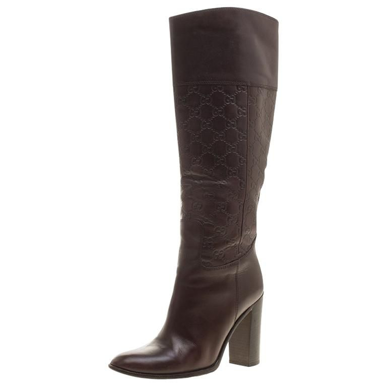 750f05343 Gucci Brown Guccissima Leather 85th Anniversary Knee High Leather Boots Size  38